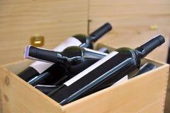 Vin rouge et blanc dans des bouteilles Image stock
