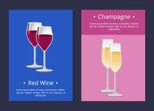 Vin rouge et Champagne Glasses Set Posters Vector illustration de vecteur
