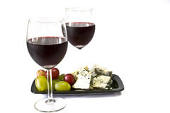 Vin rouge et fromage Photographie stock