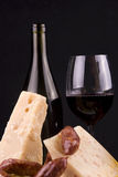 Vin rouge et fromage Images stock