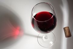 Vin rouge et liège photo stock