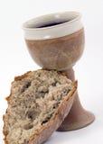 Vin rouge et pain - communion Photos libres de droits