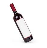 Vin rouge et une bouteille sur le fond blanc Image stock