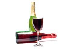 Vin rouge et vin de raisins Photographie stock