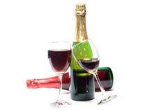 Vin rouge et vin de raisins Photos stock
