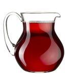 Vin rouge fait maison dans le choc en verre transparent images stock