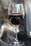 Vin rouge sur le fond de scintillement argenté Photo stock