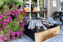 Vin shoppar Ljubljana Slovenien Arkivfoto