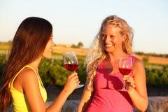 Vin som dricker kvinnavänner som rostar exponeringsglas Royaltyfri Foto