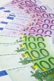 Vin van Euro bankbiljetten Stock Afbeelding