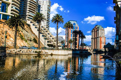 Vina del Mar. Palms water and buildings in Vina del Mar Chile Stock Photos