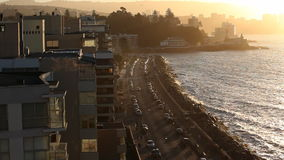 Vina del Mar at Sunset. Avenida Peru stock video
