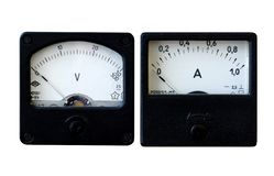 Vinage Ammeter and voltmeter. Black vintage analogue voltmeter and ammeter isolated on white background royalty free stock image