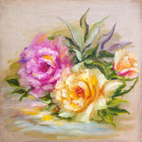 Vinage pink and yellow roses. Stock Image