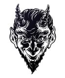 Vinage style hand drawn devil or demon portrat. royalty free illustration