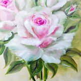 Vinage white pink roses. Stock Photo