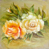 Vinage white yellow roses. Royalty Free Stock Photos