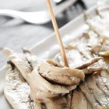 Vinagre d'en de Boquerones, anchois espagnols marinés en vinaigre Photographie stock