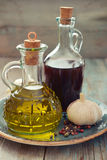 Vinagre do azeite e de vinho Foto de Stock Royalty Free