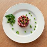 Vinaigrette of avocado, carrots, beets, sauerkraut, green peas and vegetable oil stock photography