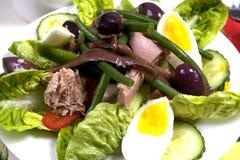 vinaigrette för tonfisk för tomater för sallad för potatisar för olivgrön för nicoise för green för druva för ägg för dressing fö Arkivbild