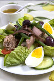 vinaigrette för tonfisk för tomater för sallad för potatisar för olivgrön för nicoise för green för druva för ägg för dressing fö Royaltyfria Foton