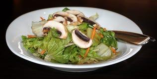 Vinaigrette Green Salad. A healthy green vinaigrette salad with mushrooms on top stock images