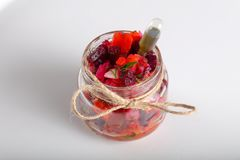 Vinaigrette salad. In glass can for catering royalty free stock images