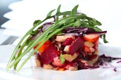Vinaigrette salad with salmon. Russian salad healthy vegetarian stock images
