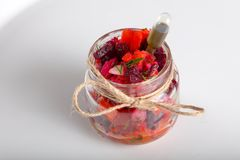 Vinaigrette salad. In glass can for catering royalty free stock image