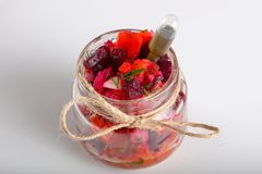 Vinaigrette salad. In glass can for catering stock image