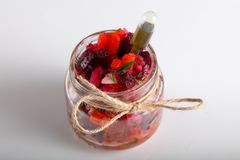 Vinaigrette salad. In glass can for catering royalty free stock photo