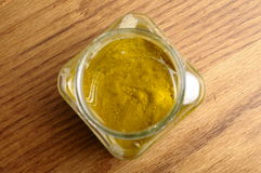 Vinaigrette sauce in glass jar Royalty Free Stock Photos