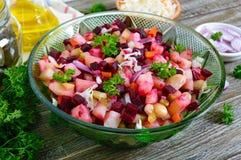`Vinaigrette` - vitamin vegetarian salad. Prepared ingredients for cooking vegetables salad royalty free stock image