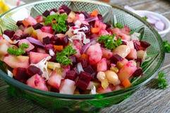 `Vinaigrette` - vitamin vegetarian salad. Prepared ingredients for cooking vegetables salad royalty free stock photos