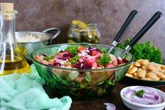 `Vinaigrette` - vitamin vegetarian salad. Prepared ingredients for cooking vegetables salad stock photos