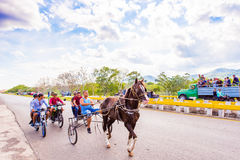 VINALES, ΚΟΥΒΑ - 13 ΜΑΐΟΥ 2017: Κουβανικός ιππόδρομος στο treasse Διάστημα αντιγράφων για το κείμενο Στοκ εικόνα με δικαίωμα ελεύθερης χρήσης