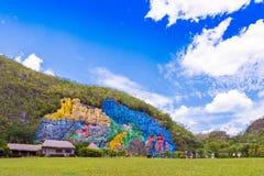 VINALES, КУБА - 13-ОЕ МАЯ 2017: Взгляд настенной росписи в долине Vinales Скопируйте космос для текста Стоковые Изображения