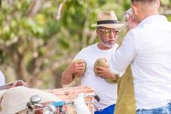 VINALES, КУБА - 13-ОЕ МАЯ 2017: Кубинський продавец манго Скопируйте космос для текста Конец-вверх Стоковые Фотографии RF