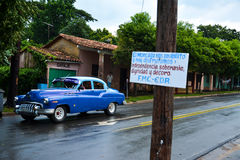 Vinales car, Cuba. Vinales main street with an old car stock photo