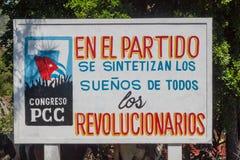 VINALES, CUBA - FEB 18, 2016: Propaganda poster near Vinales village, Cuba. It says: The dreams of all revolutionaries stock image