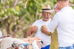 VINALES, CUBA - MAY 13, 2017: Cuban mango seller. Copy space for text. Close-up. Royalty Free Stock Photos