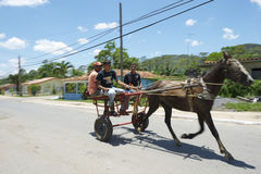 Vinales Cuba Traditional Horse and Buggy with Passengers Royalty Free Stock Photo