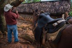 Vinales dal, Kuba - September 24, 2015: Den lokala cowboyen förbereder sig Arkivbild