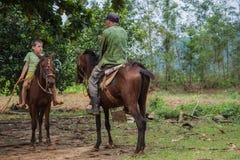 Vinales dolina Kuba, Wrzesień, - 24, 2015: Lokalny kubański coutrysi Obrazy Stock