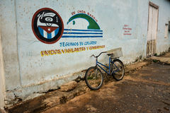 Vinales painting, Cuba. Painting in Vinales, with a bike. CUBA stock image