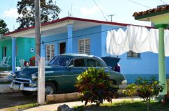 Vinales with typical cadillacs, Cuba Royalty Free Stock Images