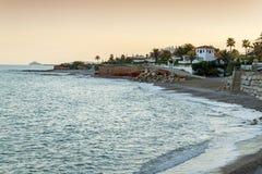Vinarós coast. Castellón. Beach and houses near the sea Royalty Free Stock Image
