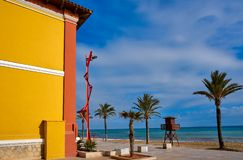 Vinaroz Playa del Forti beach in Castellon stock photography