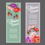 Vinatage flower banner. Beautiful vintage or retro flower make vertical banner design Stock Photo
